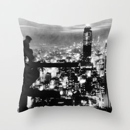Late night construction in NYC Throw Pillow
