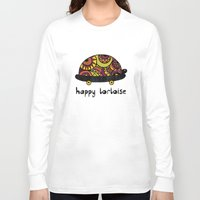 tortoise Long Sleeve T-shirts featuring Happy Tortoise by Farnell