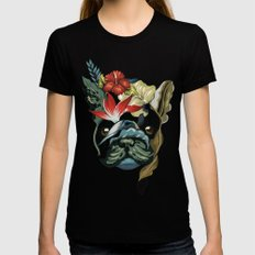 Tropical Frenchie Black X-LARGE Womens Fitted Tee