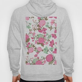 Botanical pink mint green girly floral illustration Hoody
