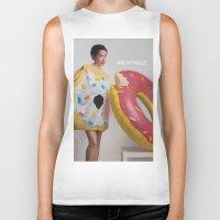 donut Biker Tanks featuring Donut by Sally Jane Fuerst