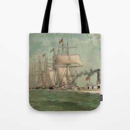 Vintage Fishing Fleet Painting (1882) Tote Bag
