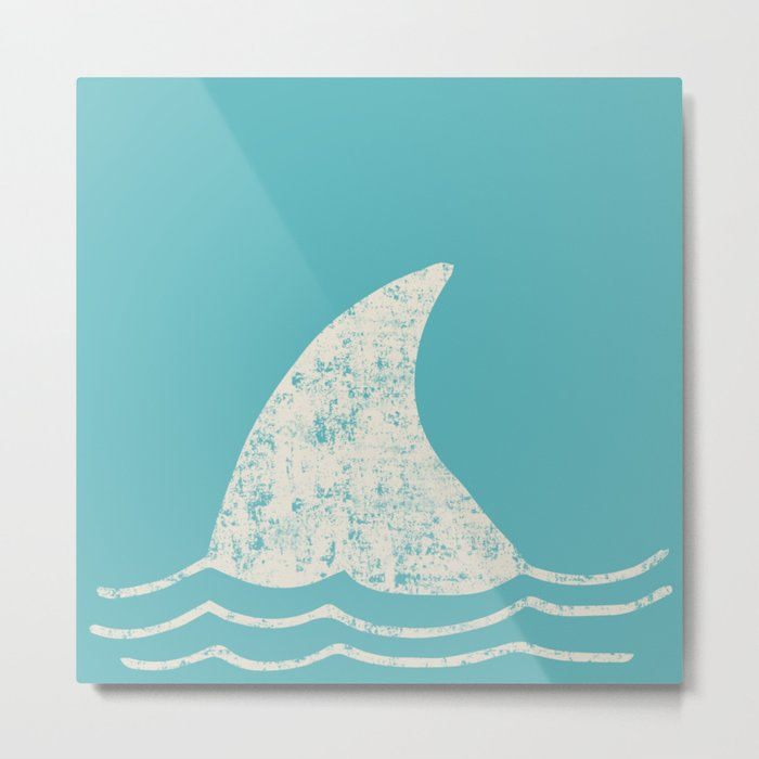 Beach Series Aqua- Shark Animal in the deep See Metal Print
