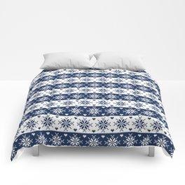 Navy Blue Fair Isle Christmas Pattern Comforters