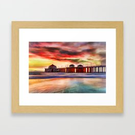 Huntington Beach at Sunset Framed Art Print