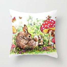 Bunny in Fairy Garden Throw Pillow