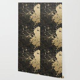 Boston Gold and Black Invert Wallpaper
