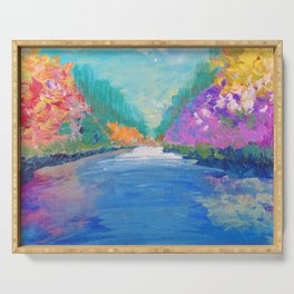 AROUND THE RIVERBEND - Autumn River Modern Nature Pochahontas Abstract Landscape Acrylic Painting Serving Tray