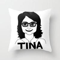 tina fey Throw Pillows featuring Tina Fey by Flash Goat Industries