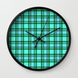 Turquoise plaid Wall Clock