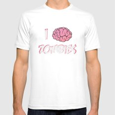 I Brain (Love) Zombies White MEDIUM Mens Fitted Tee