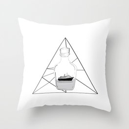 Graphic . Geometric Shape Black Ship in a Bottle . Prism Throw Pillow