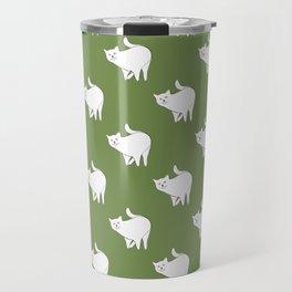 Cute Cat Pattern | Green Travel Mug