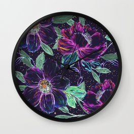 Whimsical hand paint floral and golden confetti design Wall Clock
