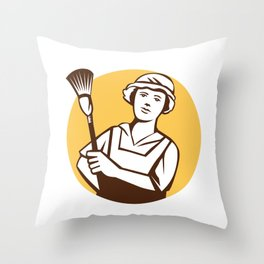 Maid Cleaner Duster Circle Retro Throw Pillow