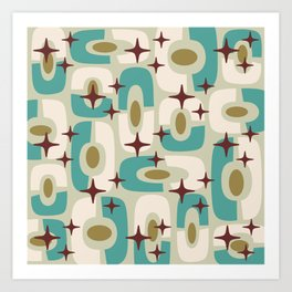 Mid Century Modern Cosmic Abstract 144 Turquoise Gold Brown and Beige Art Print