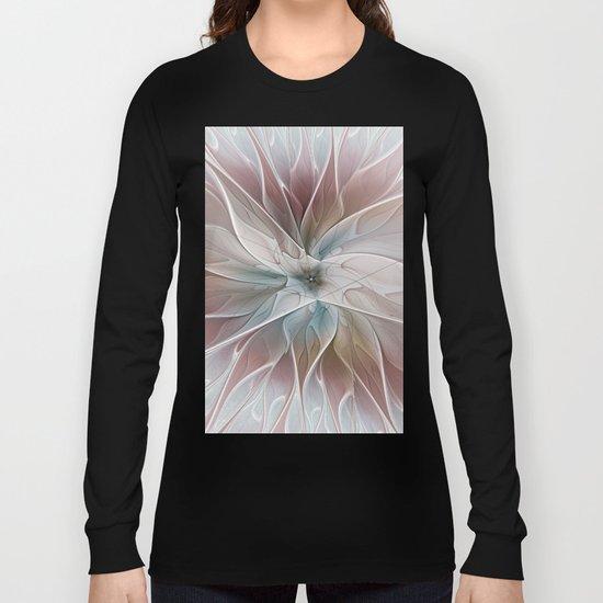 A Floral Friend, Abstract Fractal Art Long Sleeve T-shirt