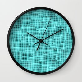 Square pastel curved stripes with interweaving of the bark of a light blue tree trunk. Wall Clock