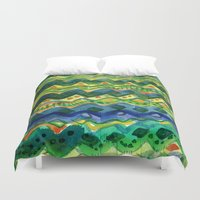 green pattern Duvet Covers featuring Green pattern by Nato Gomes