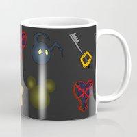 kingdom hearts Mugs featuring Kingdom Hearts Pattern by Caleb Cowan