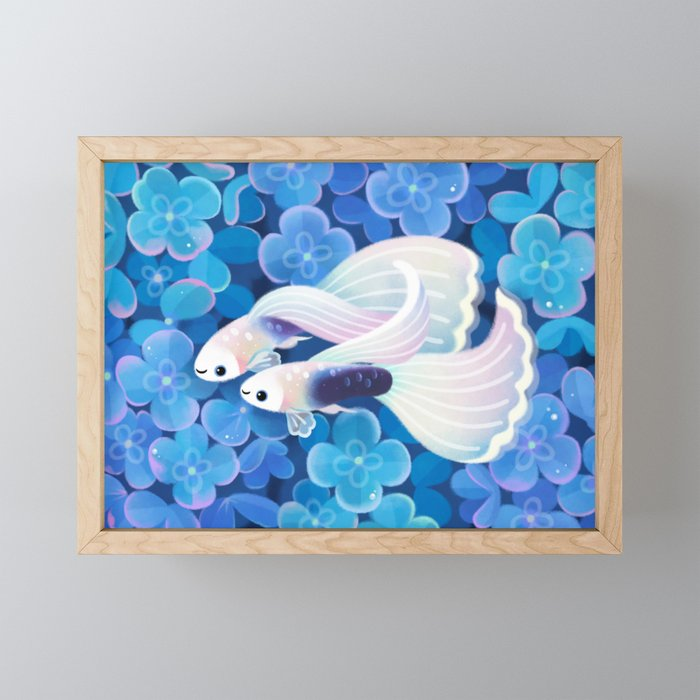White tuxedo guppy Framed Mini Art Print