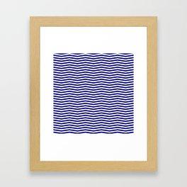 Australian Flag Blue and White Wavy Chevron Stripe Framed Art Print