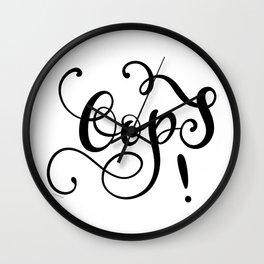 Oops! Hand Lettering Flourish Design Black Script Wall Clock