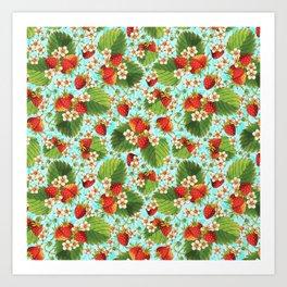 Botanical Strawberries Art Print