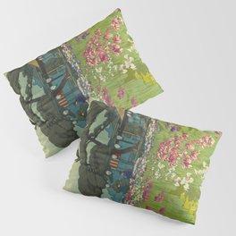 Iris Garden in Horikiri Hiroshi Yoshida Modern Japanese Woodblock Print Pillow Sham