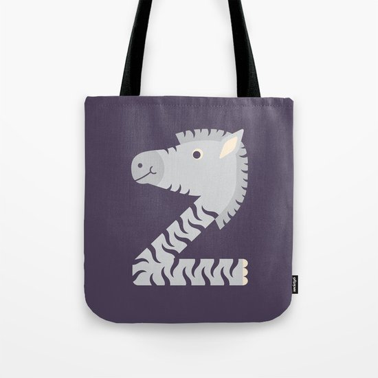 Letter Z // Animal Alphabet // Zebra Monogram Tote Bag