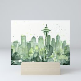 Seattle Watercolor Painting Mini Art Print