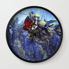 Motocross Dirt-Bike Championship Race Wall Clock