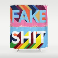 shit Shower Curtains featuring FAKE SHIT by FAMOUS WHEN DEAD