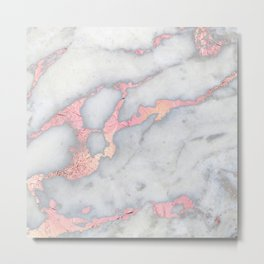 Rosegold Pink on Grey Marble Metallic Foil Style Metal Print