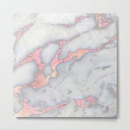 Rosegold Pink on Gray Marble Metallic Foil Style Metal Print