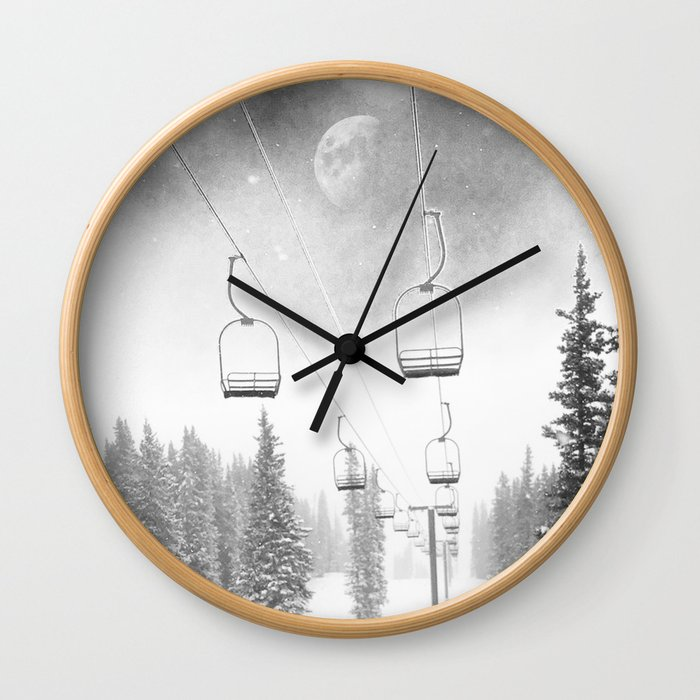 Chairlift Moon Break // Riding the Mountain at Copper Colorado Luna Sky Peeking Foggy Clouds Wall Clock
