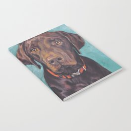 Chocolate lab LABRADOR RETRIEVER dog portrait painting by L.A.Shepard fine art Notebook