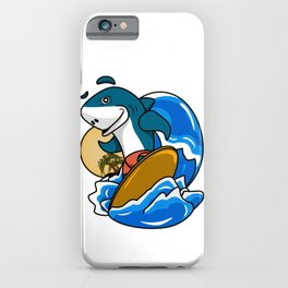 Stylized 3d illustrations,Surfing shark. iPhone Case
