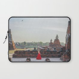 Woman in a Temple in Ayutthaya, Thailand Laptop Sleeve