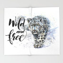 Snow leopard Wild and Free Throw Blanket