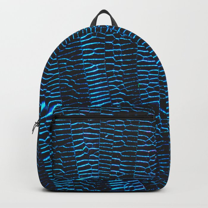 Dragonfly shiny vibrant blue wings Backpack