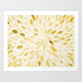 Watercolor brush strokes - yellow Art Print