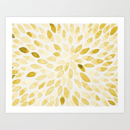 Watercolor brush strokes - yellow Art Print