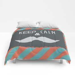keep calm & moustache it Comforters