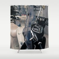vespa Shower Curtains featuring Vespa  by Natural Outlook