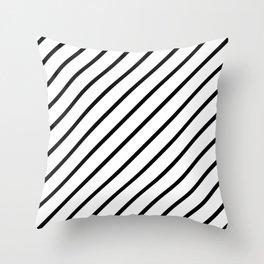Diagonal Lines (Black/White) Throw Pillow