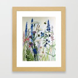 Wildflower in Garden Watercolor Flower Illustration Painting Framed Art Print