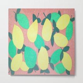Lemony Fresh Citrus Pattern Metal Print
