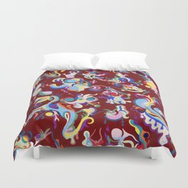 Red Abstract Tapestry Duvet Cover