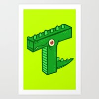 t rex Art Prints featuring T-Rex by Artistic Dyslexia